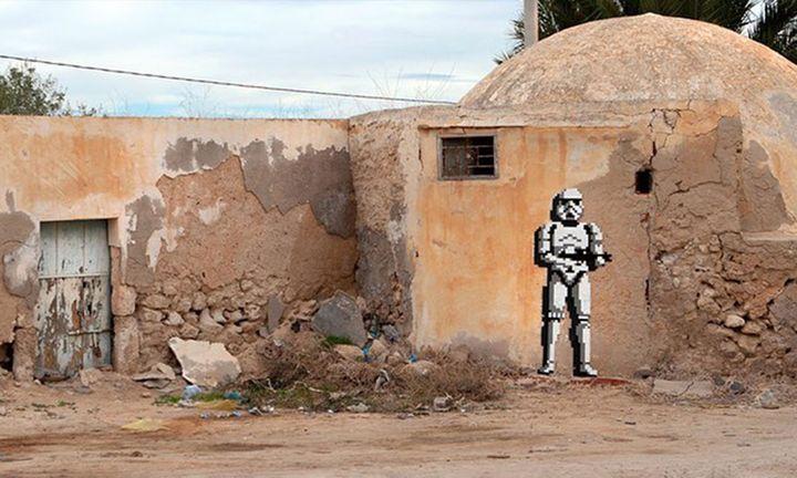 invader stormtrooper mosaic in djeba tunisia