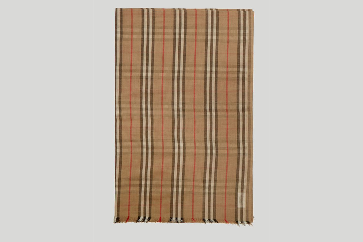 Heritage Stripe and Vintage Check Scarf in Beige