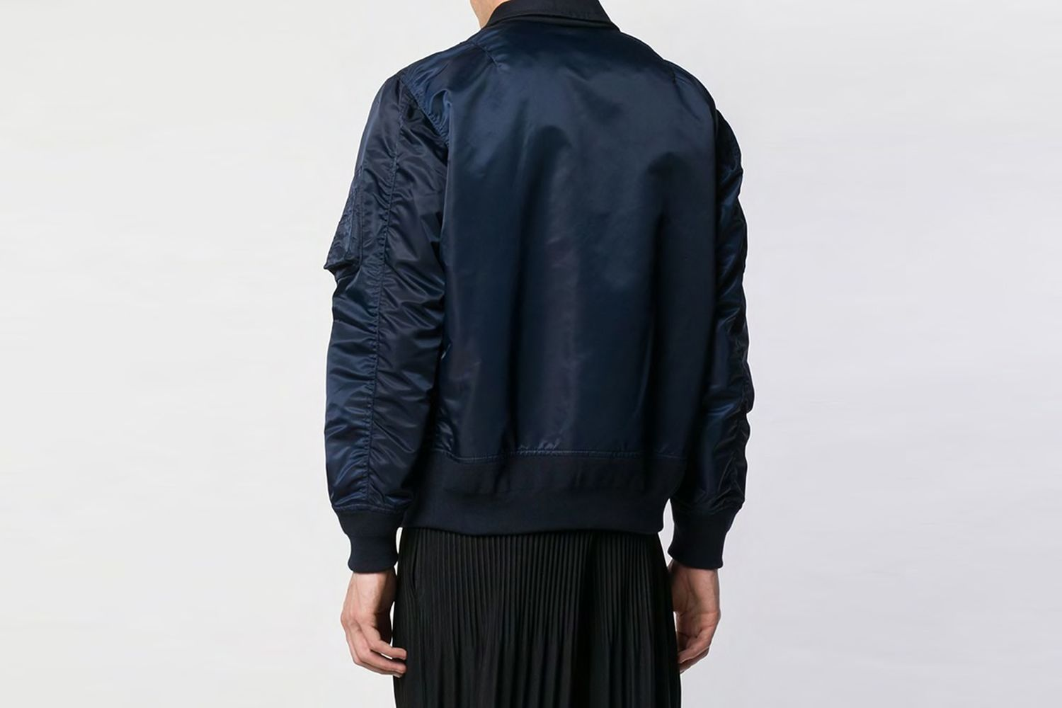 Sacai - layered bomber jacket - men - Polyurethane/Cotton/Cupro - 3, 2 - Blue