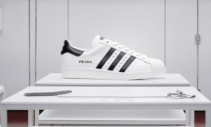 Prada adidas originals superstar in white and black