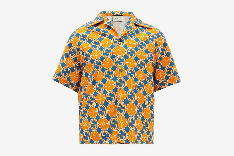 GG and Floral-Print Cotton-Poplin Shirt
