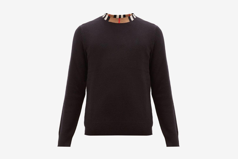Noland House-Check Collar Cashmere Sweater