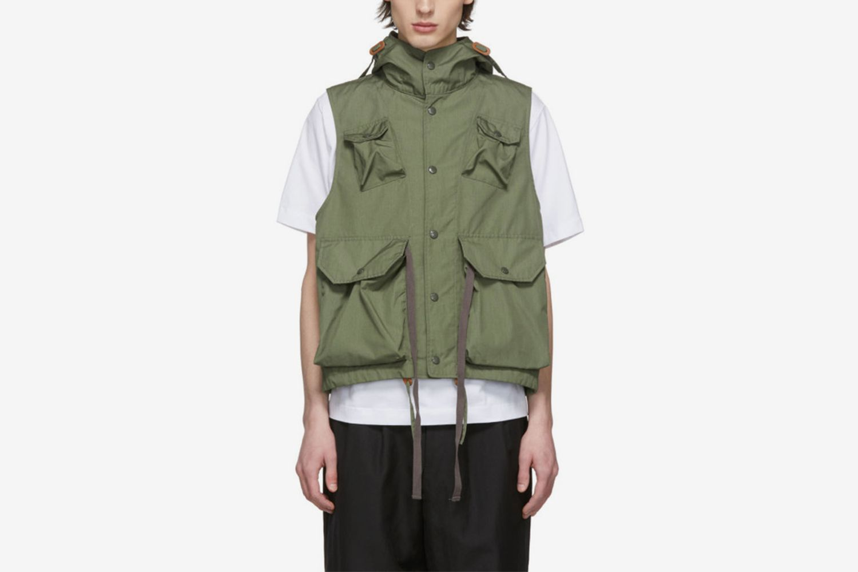 Green Poplin Field Vest