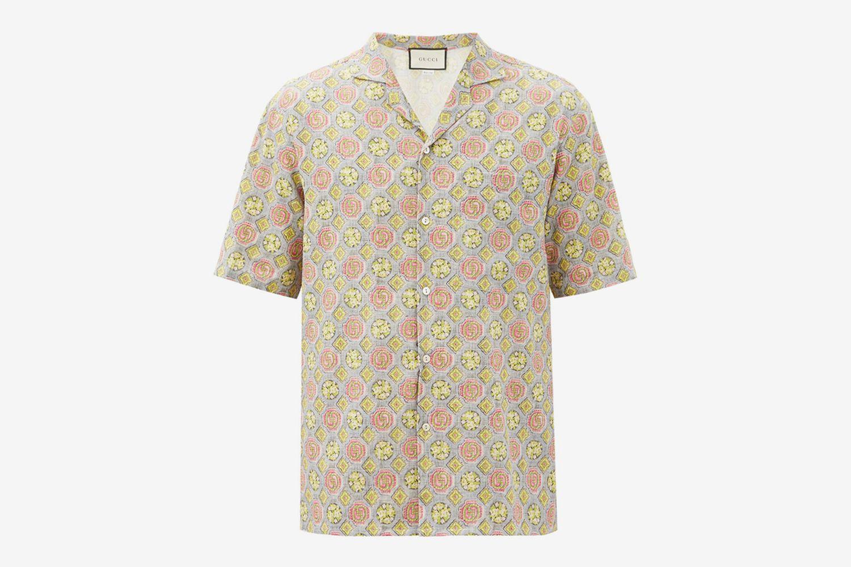 GG-Print Linen-Blend Shirt
