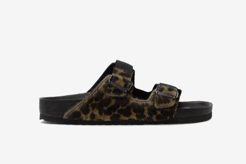 Pony Hair Leopard Arizona Sandals