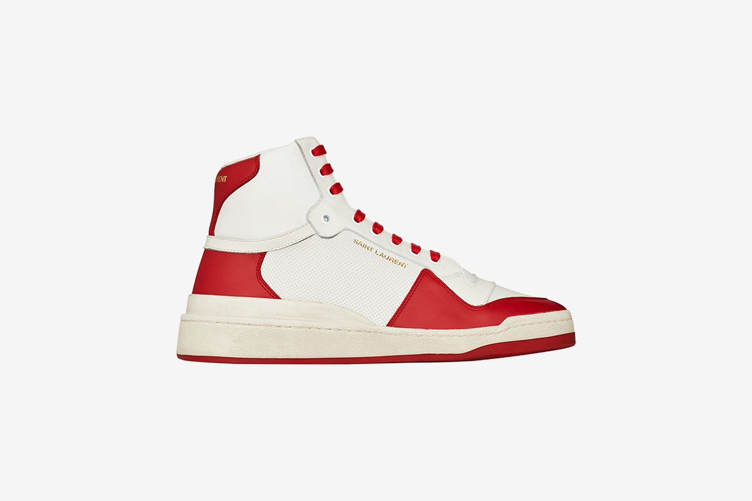 SL24 Mid-Top Sneakers in Perforated and Grained Leather