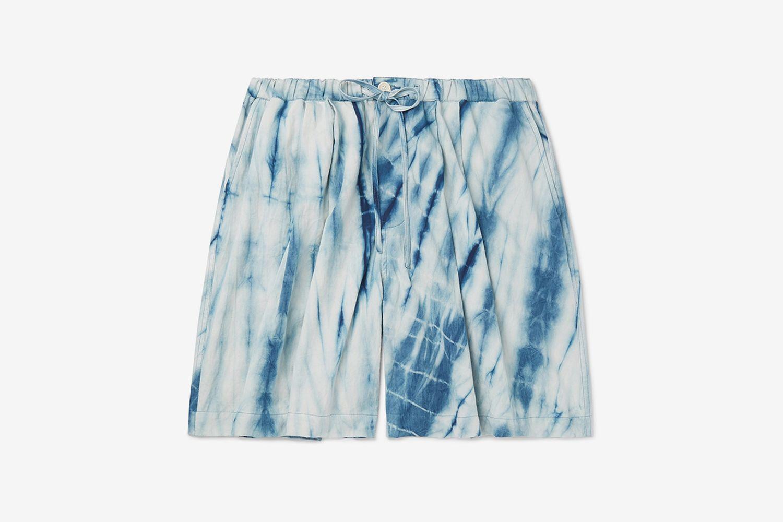Wide-Leg Tie-Dyed Organic Cotton Drawstring Shorts
