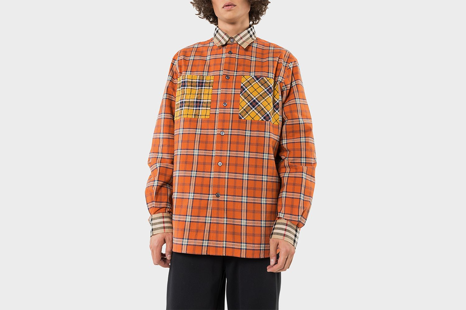 Contrast Check  Flannel Oversized Shirt