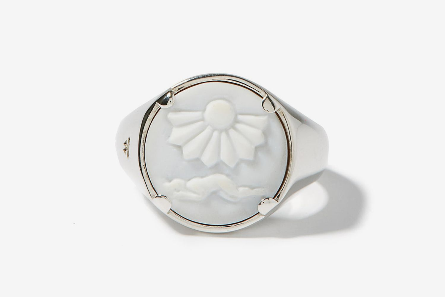 Clytia Cameo Rhodium-Plated Sterling-Silver Ring