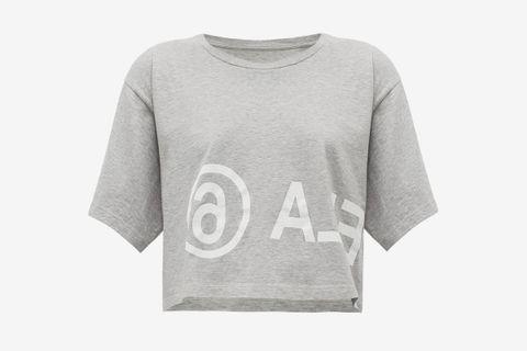 Logo-print Cropped Cotton-jersey T-shirt