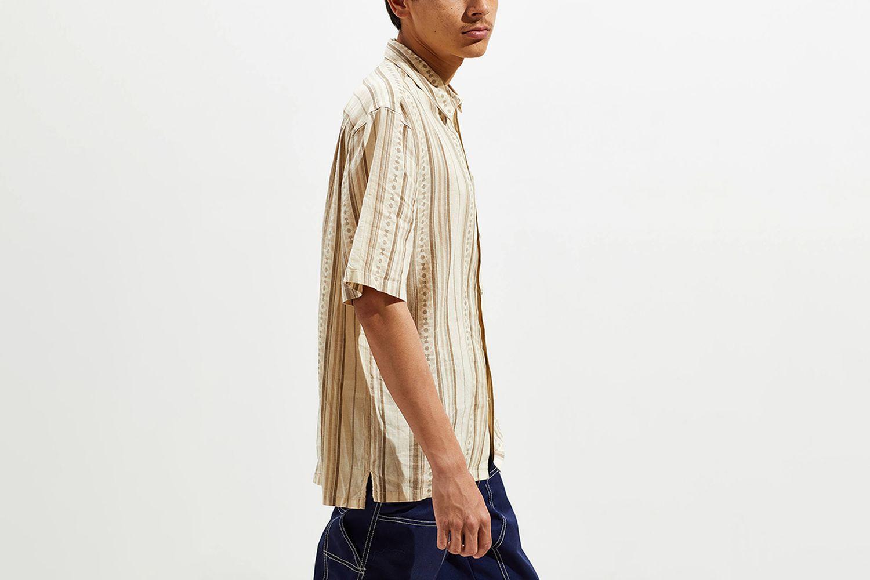 Stripe Linen Blend Short Sleeve Button-Down Shirt