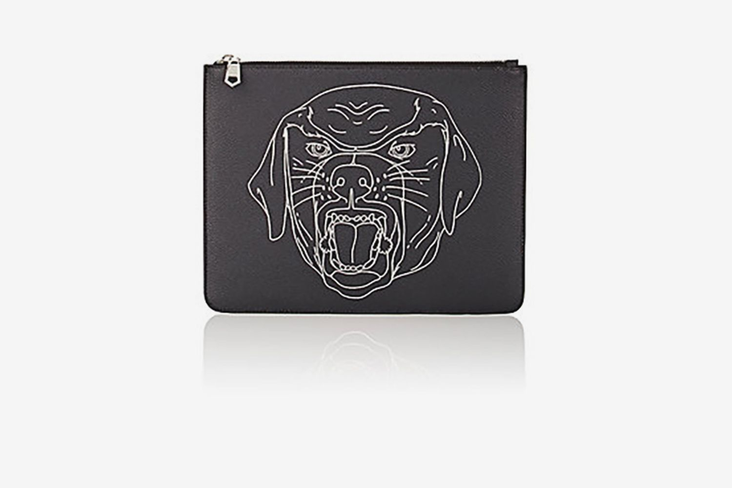 Stenciled-Rottweiler Large Zip Pouch