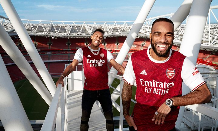 Aubameyang and Lacazette model Arsenal's new adidas home jersey