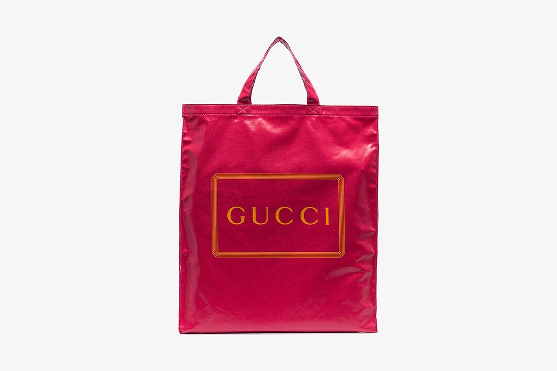 Pink Logo Print Tote Bag