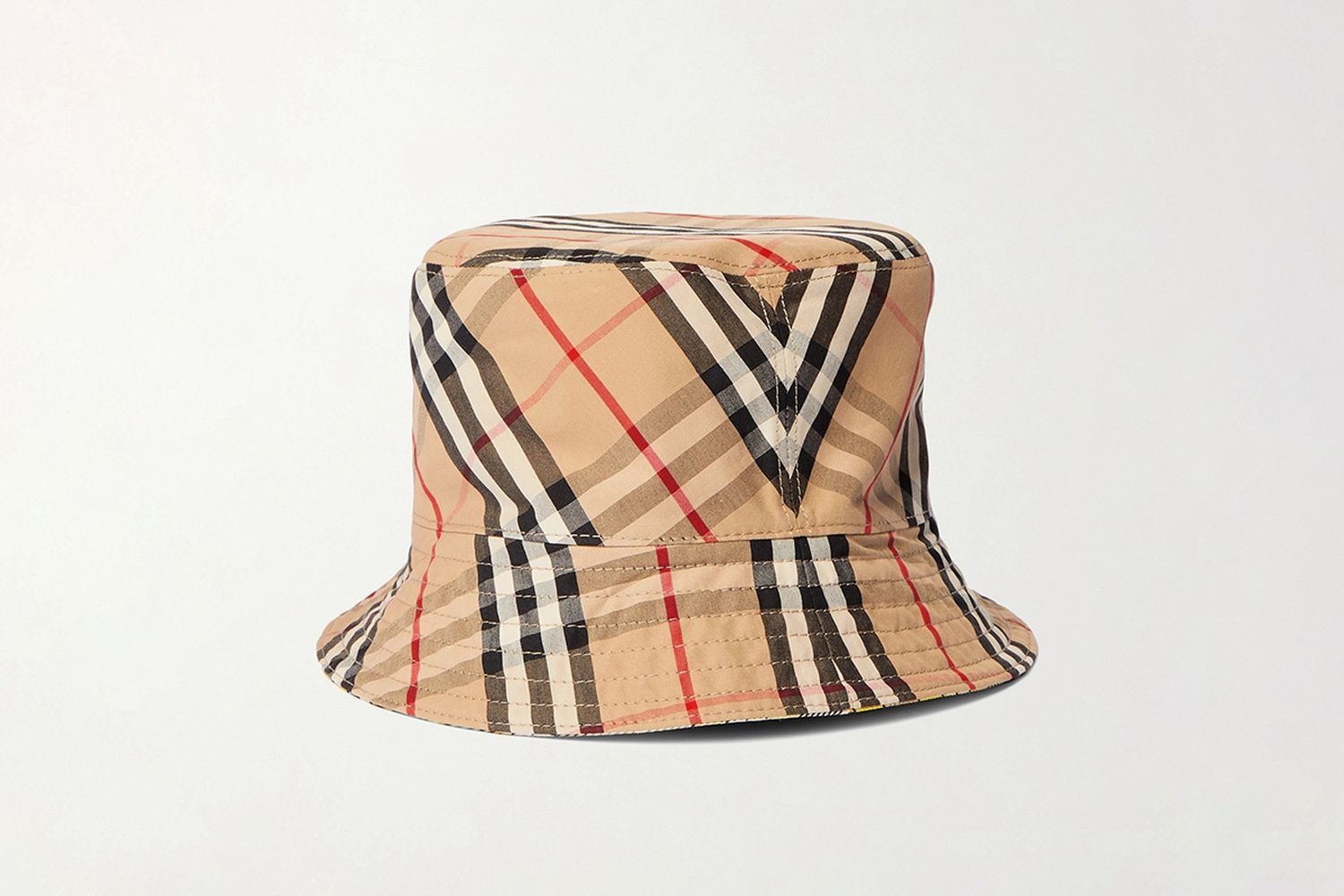 Reversible Checked Wool-Blend Twill Bucket Hat
