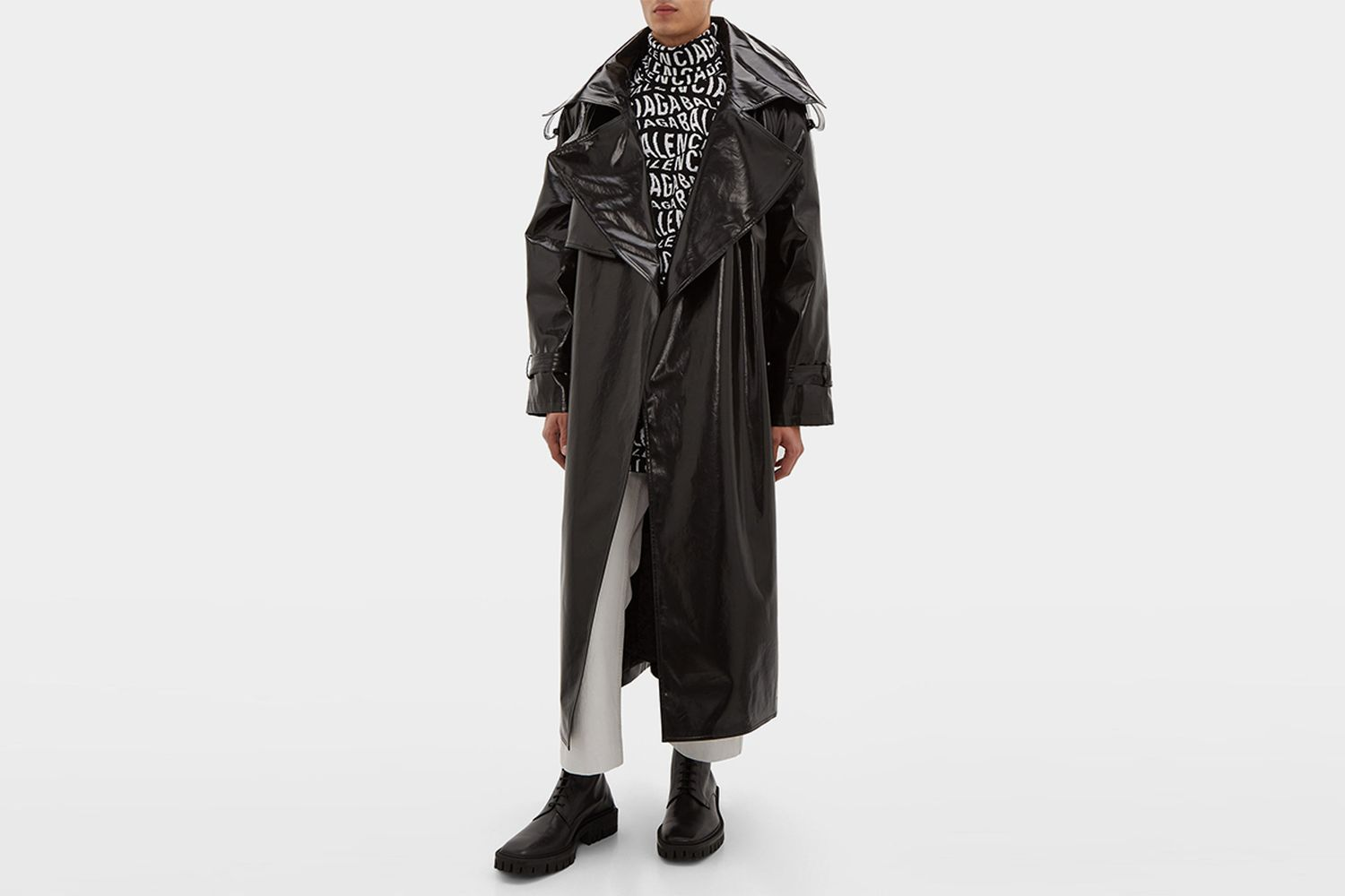 Exaggerated-Lapel coated-Cotton Trench Coat