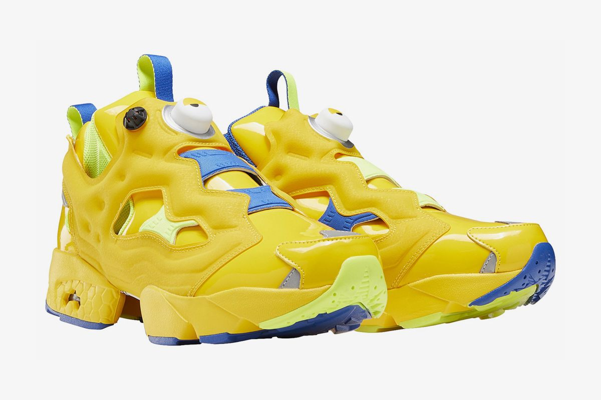 Yellow and blue Minion-themed Reebok Instapump Fury OG