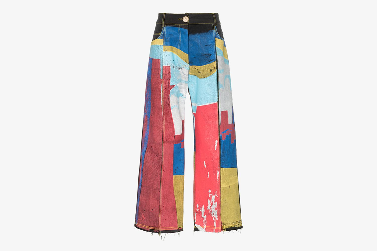 Painted Patchwork Straight Leg Jeans