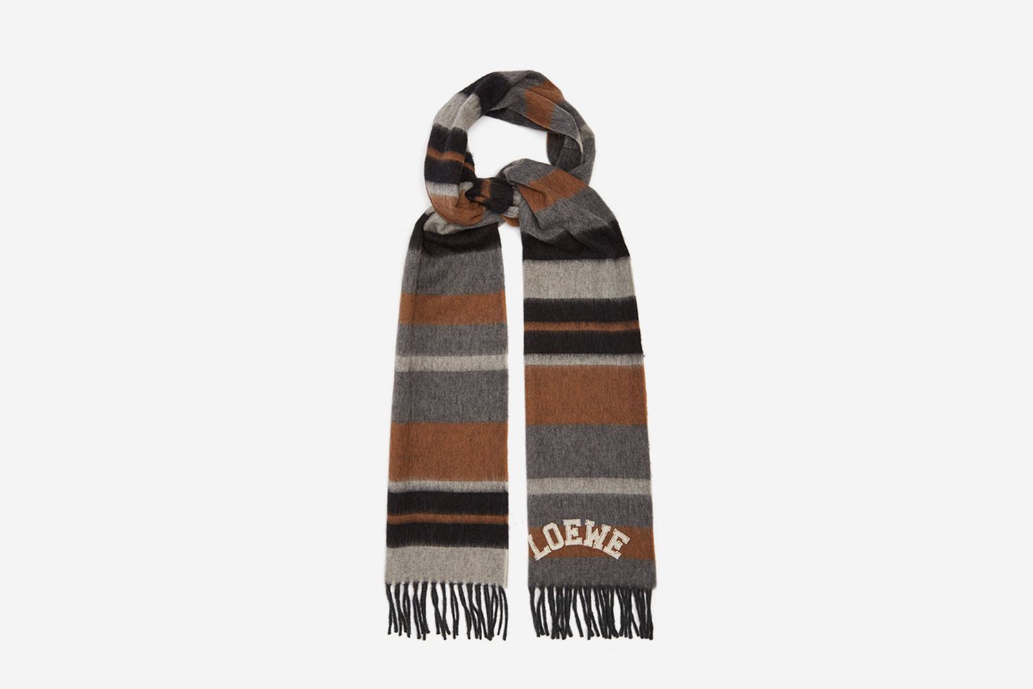Striped Brushed Wool Scarf