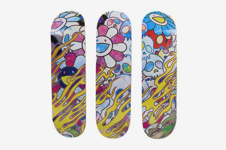 Flying DOB Skate Decks (Set of Three) and Flaming Skulls Skate Decks (Set of Three) (Six Works), 2018