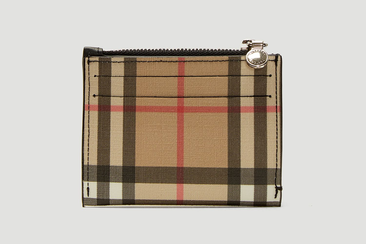 Vintage Check Zip Card Holder in Beige