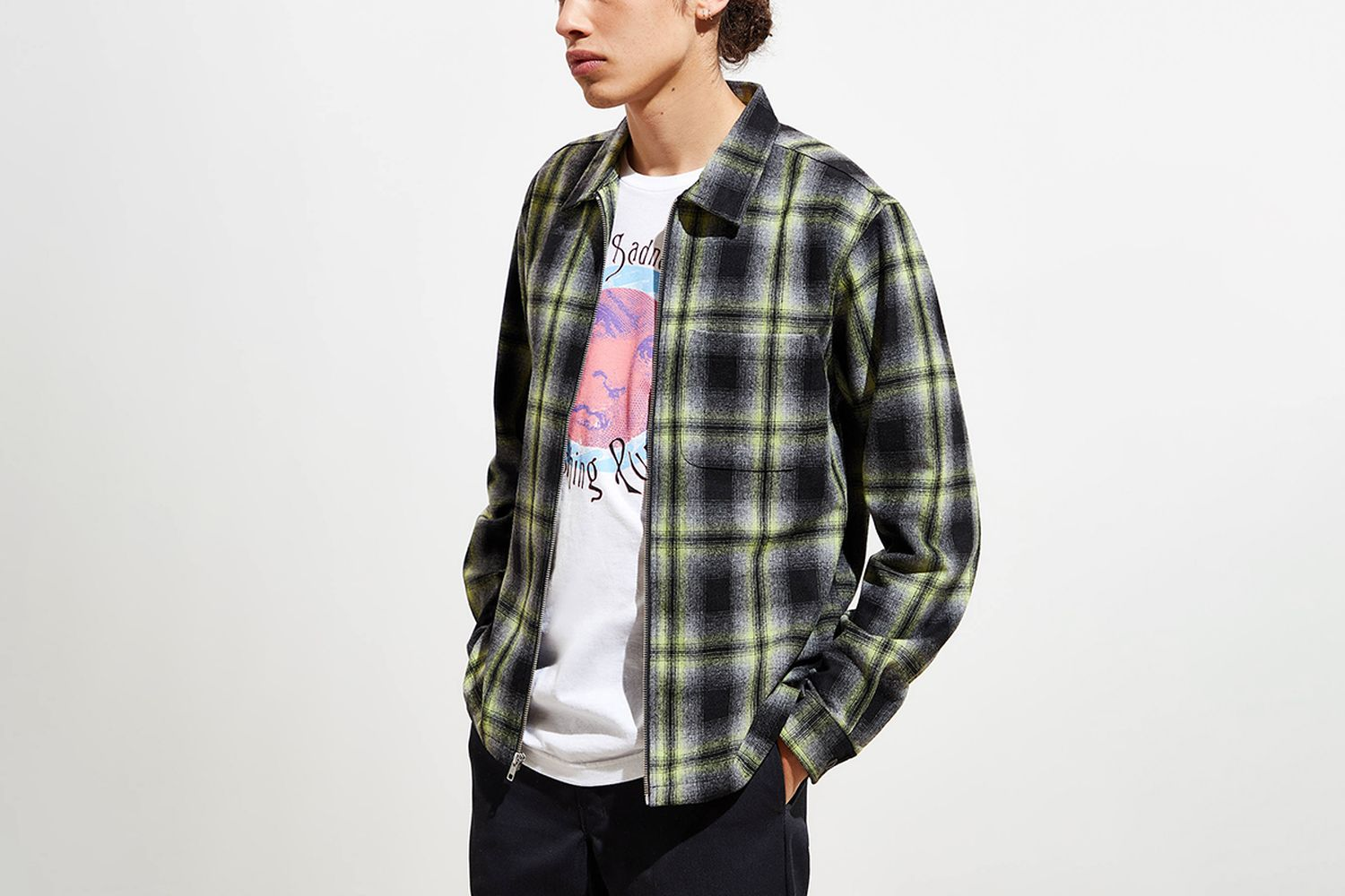 Gunn Plaid Zip-Up Shirt