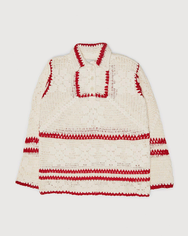 BODE — Mockneck Crochet Pullover White Red - Image 1