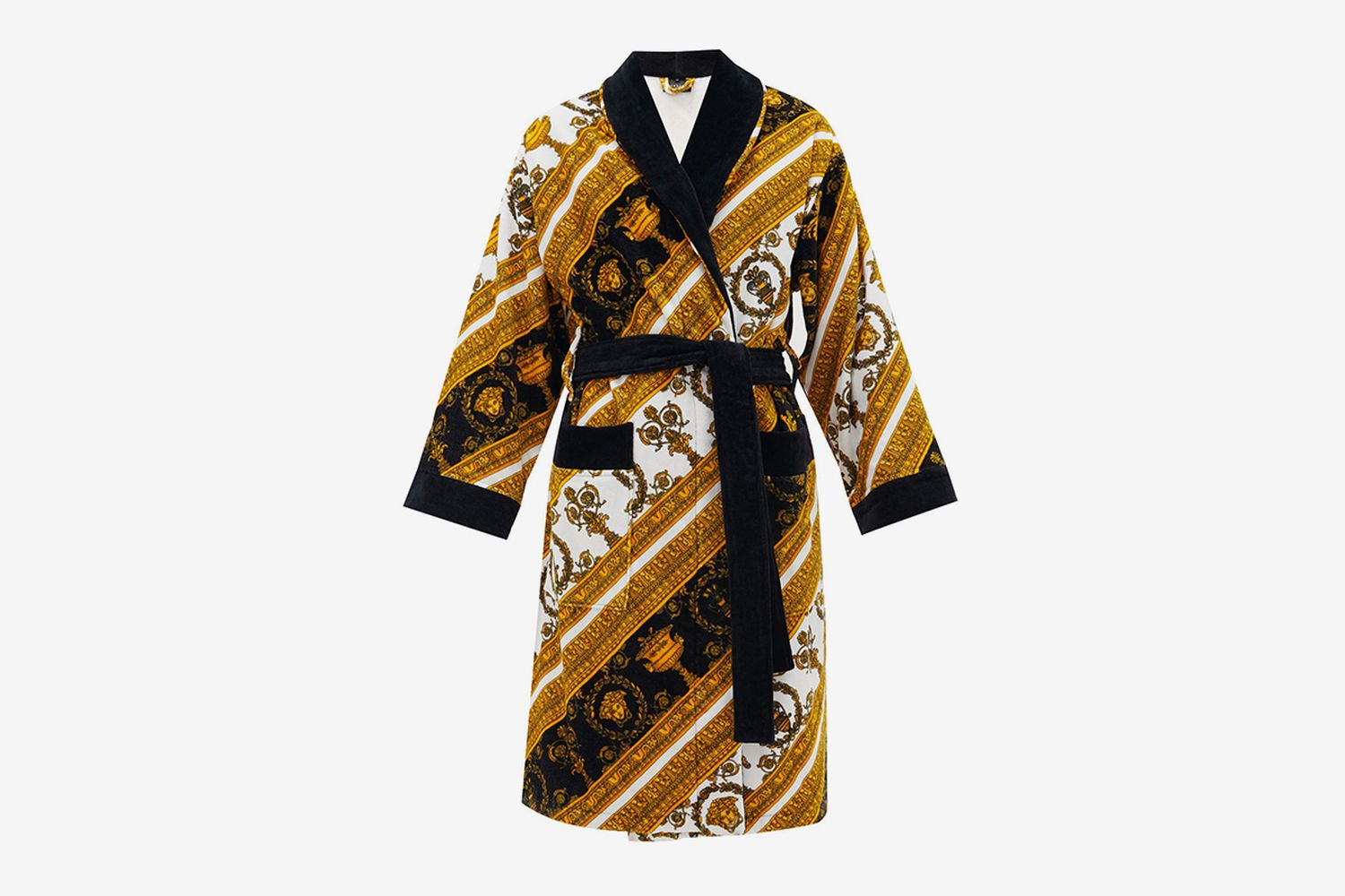 Baroque-Print Cotton Terrycloth Robe
