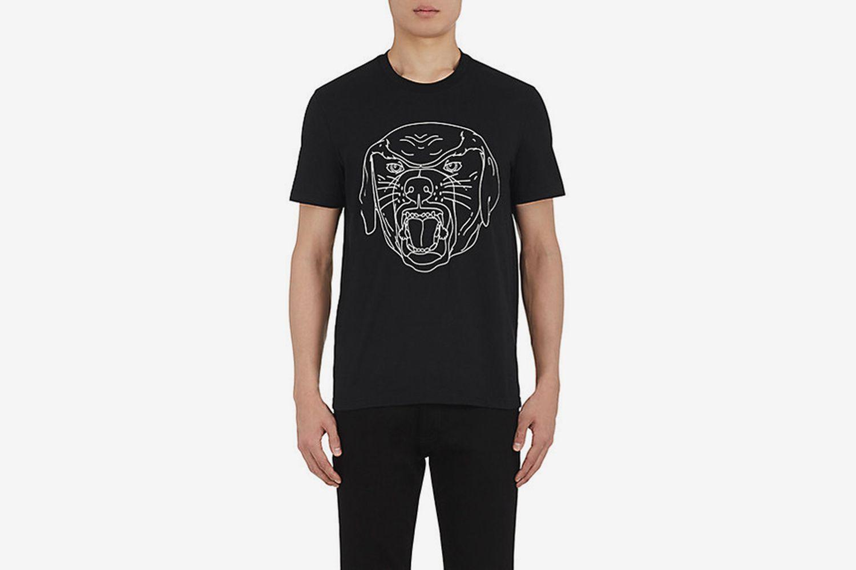 Stenciled-Rottweiler Cotton T-Shirt