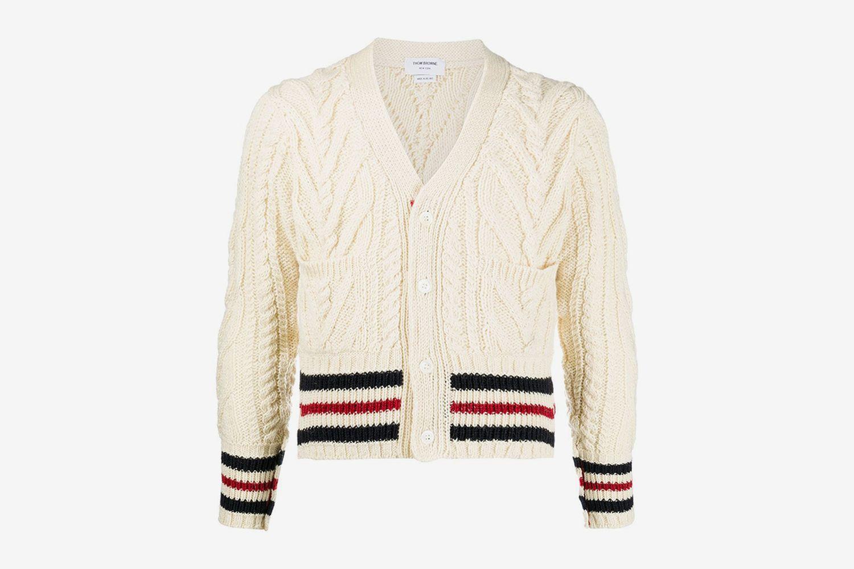 Stripe-Trim Cable-Knit Cardigan