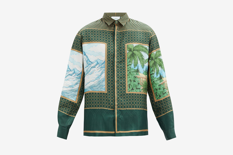 Alchimie-Print Silk-Twill Shirt