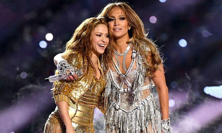 Shakira Jennifer Lopez perform onstage during the Pepsi Super Bowl LIV Halftime Show