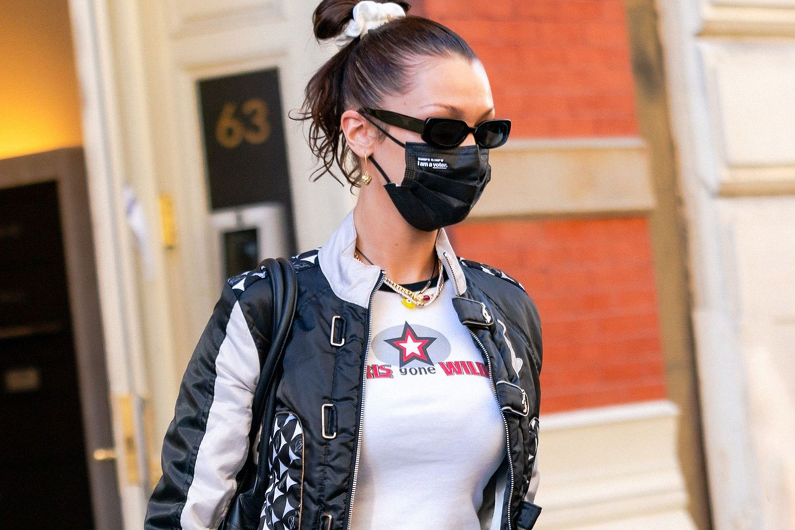 sunglasses and face mask