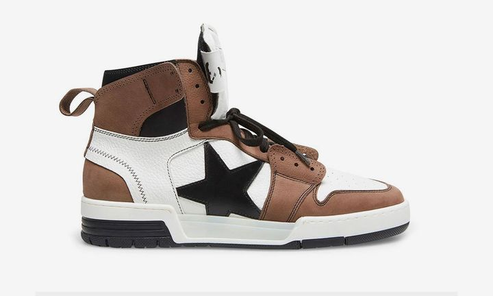 Steve Madden high-top sneaker brown white black star