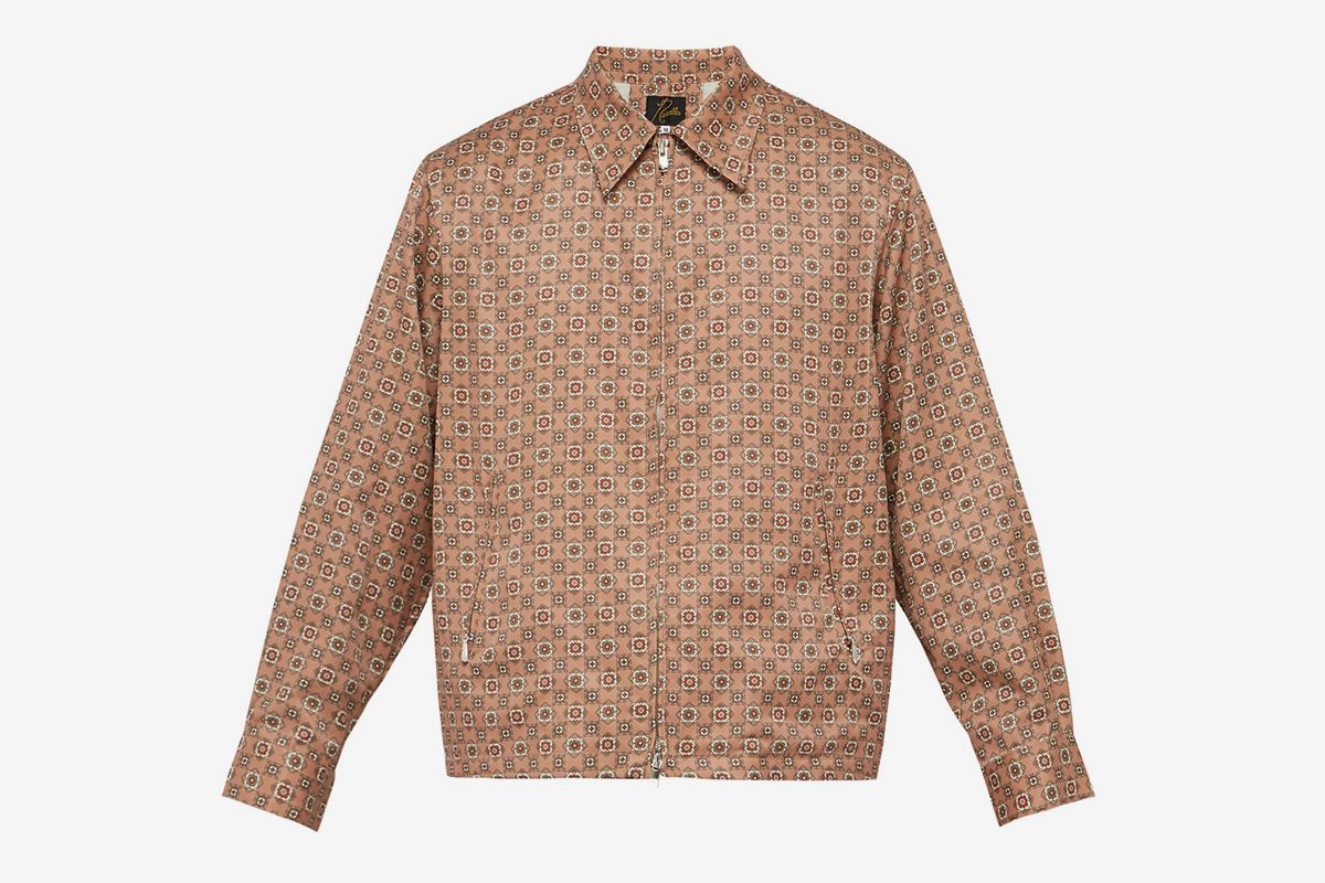 Geometric-print Satin Jacket