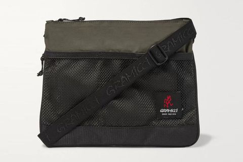 Mesh-Trimmed Shell Messenger Bag
