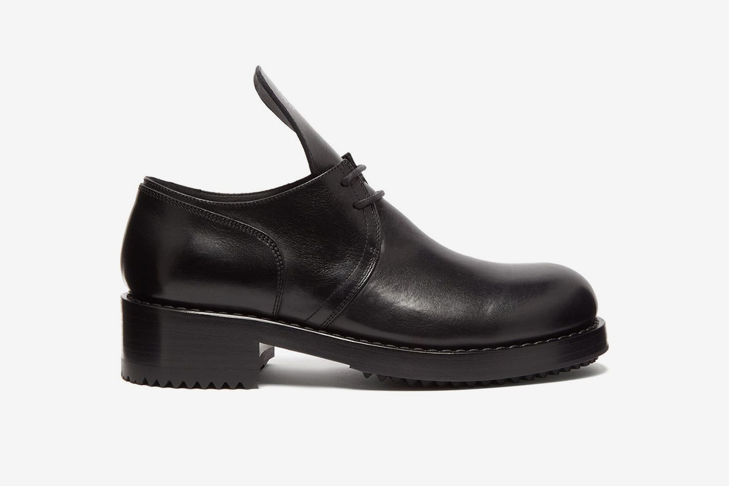 Exaggerated-Tongue Leather Derby Shoes