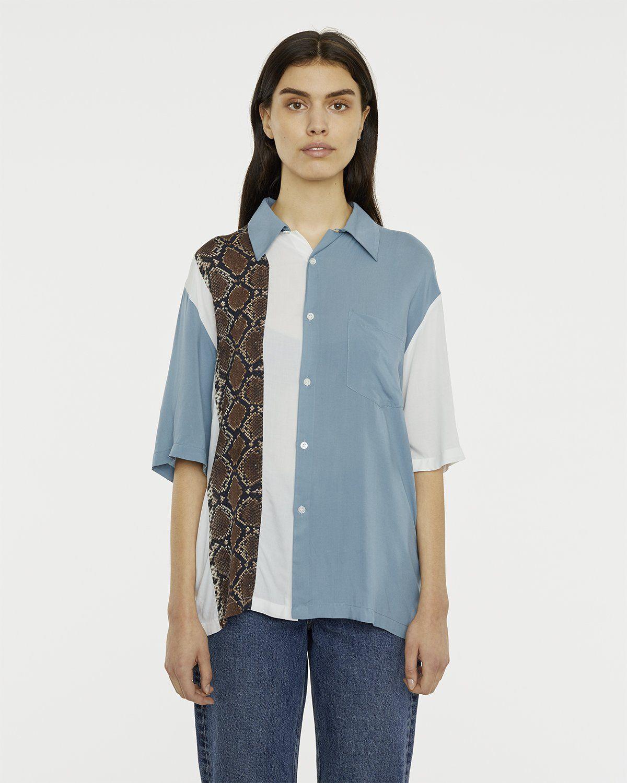 Aries - Hawaiian Shirt With Panel White/Gray - Image 4