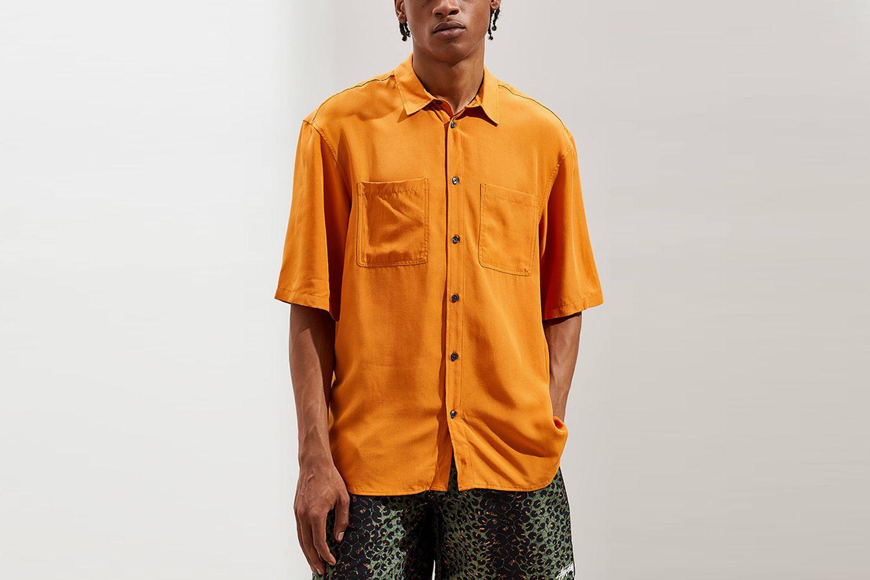 Solid Faux Silk Short Sleeve Button-Down Shirt