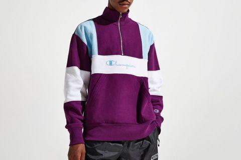 Reverse Weave Colorblock Half-Zip Sweatshirt