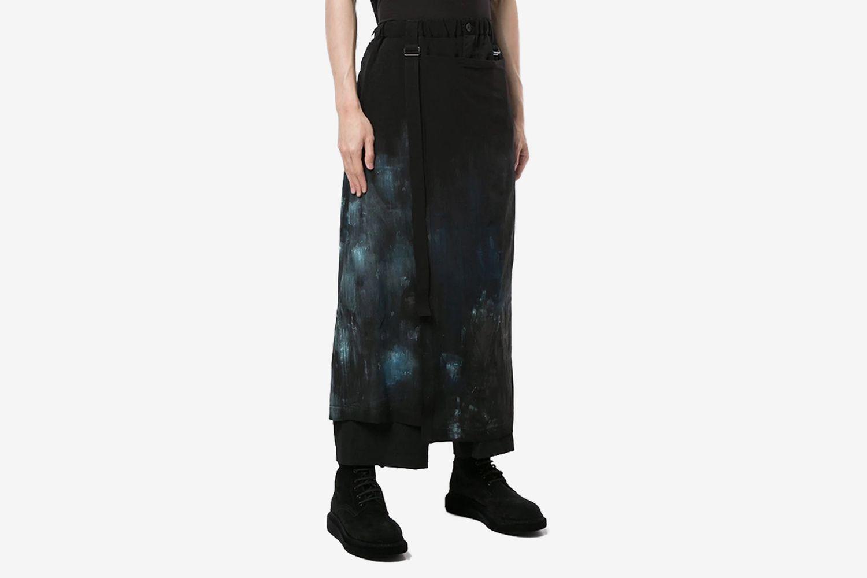 Skirt-Overlaid Asymmetric Trousers