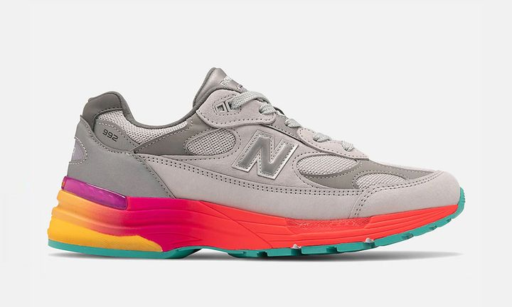 grey and multicolor new balance 992 side profile view