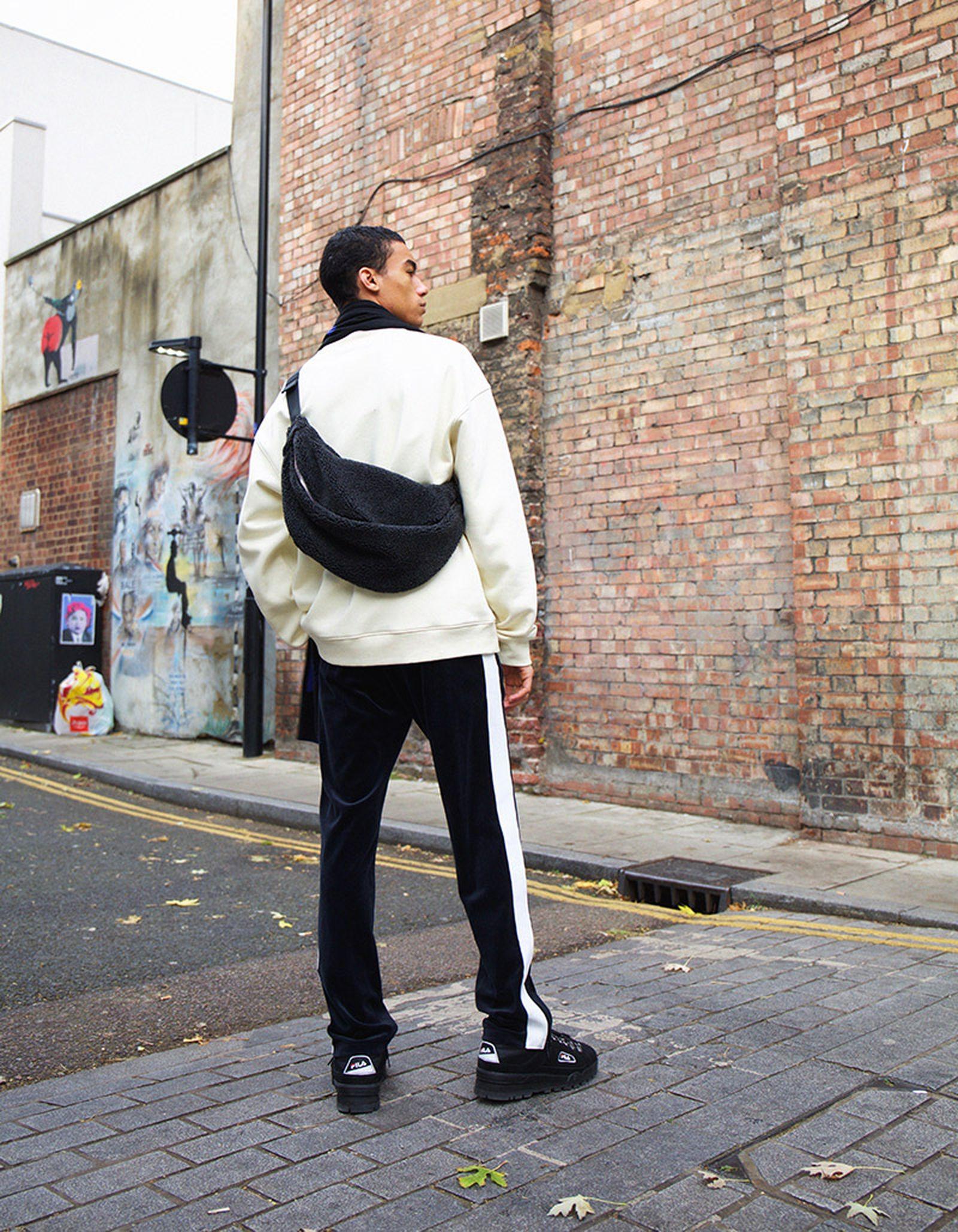 Big Steve Sweatshirt, Local Velour Sweatpants, Meridian Scarf & Park Pile Shoulder Bag