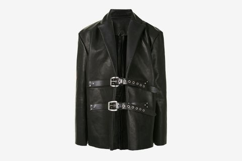 Buckle Fastening Leather Jacket