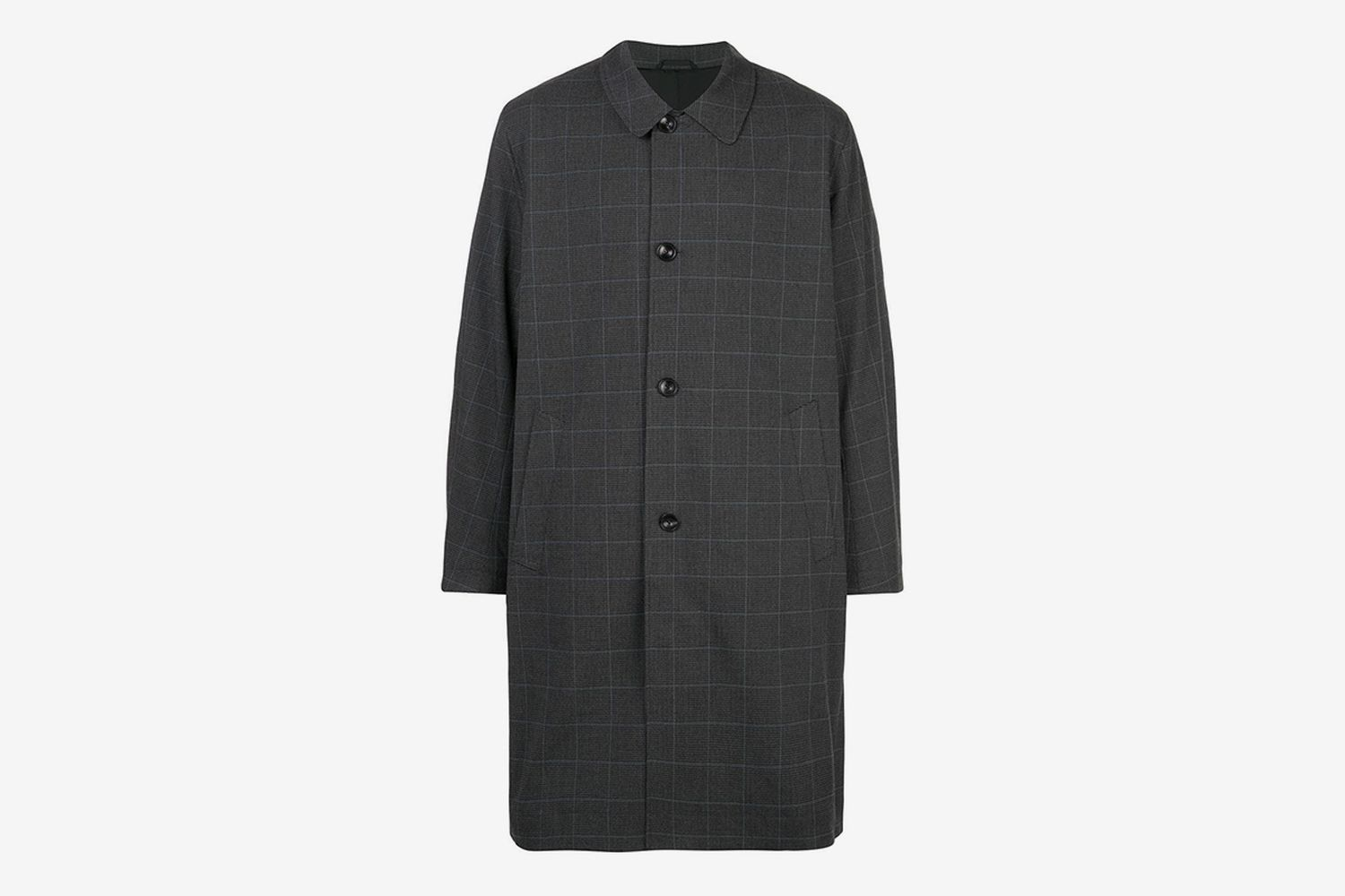 Windowpane-Check Driving Coat