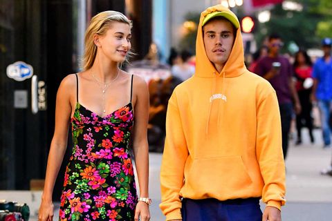 Justin Bieber and Hailey Bieber walking down the streets of Manhattan
