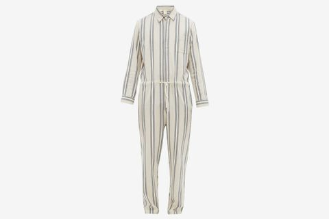 Striped Cotton Blend Drawstring Jumpsuit
