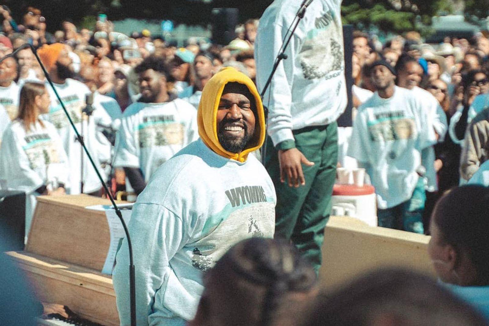 Kanye West Sunday service smiling