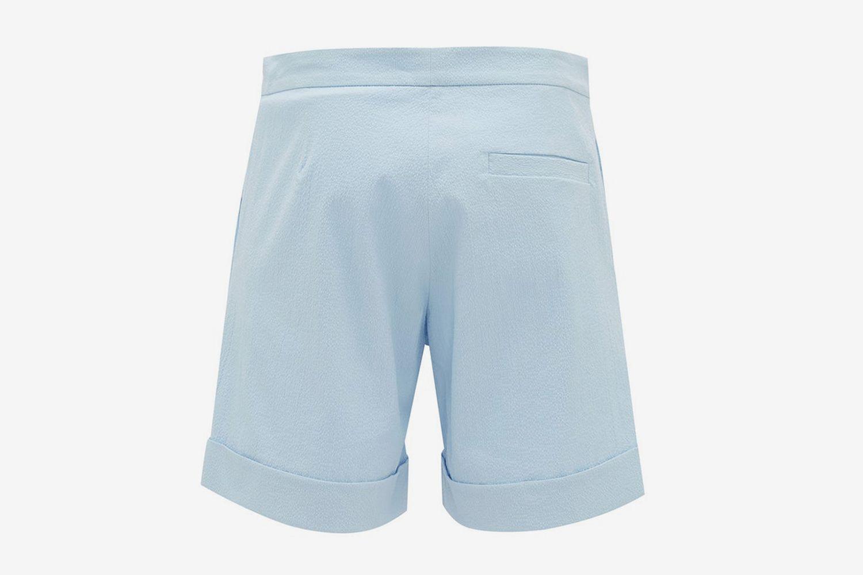 Voilier Mid-Rise Cotton-Blend Seersucker Shorts