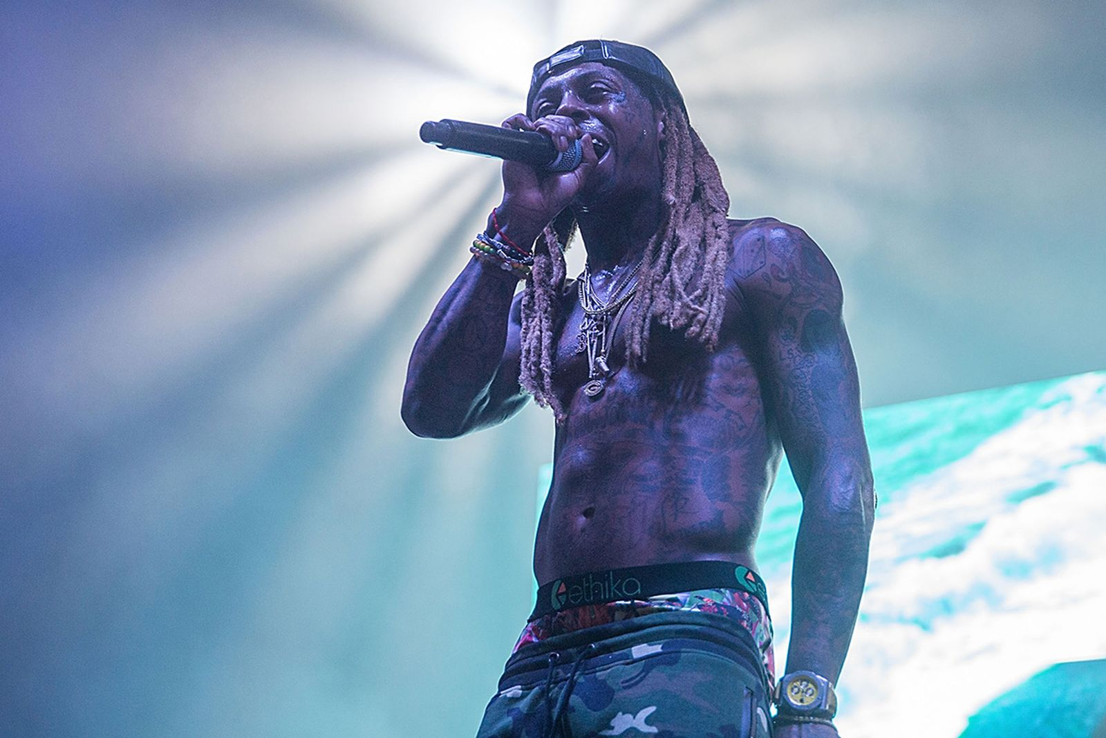 : Lil Wayne takes the stage at the Bud Light Party Convention in Houston